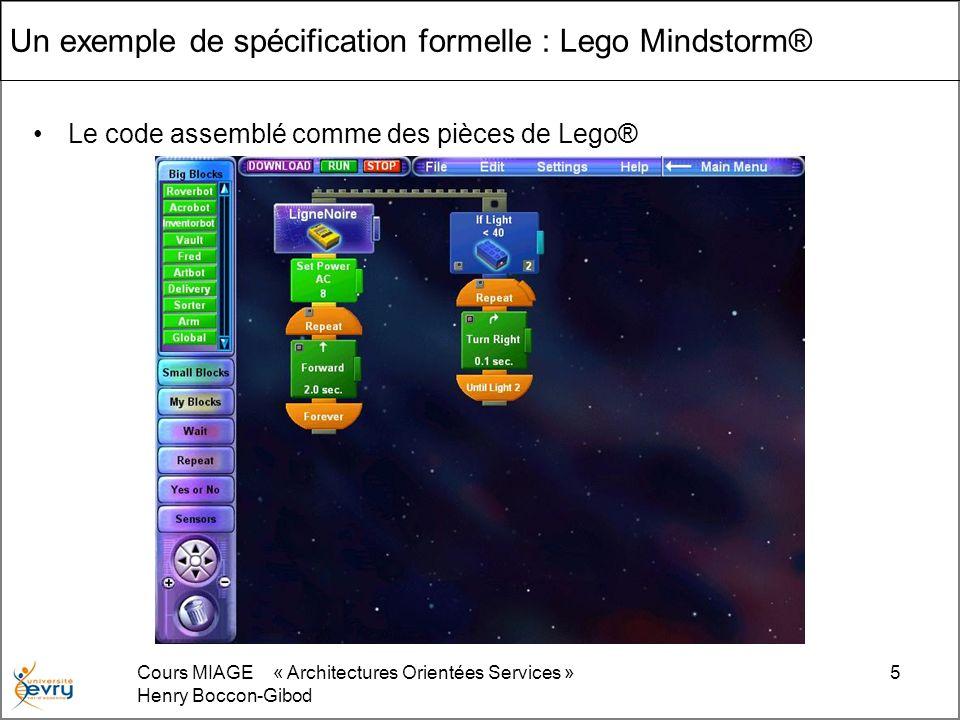 Cours MIAGE « Architectures Orientées Services » Henry Boccon-Gibod 5 Un exemple de spécification formelle : Lego Mindstorm® Le code assemblé comme des pièces de Lego®