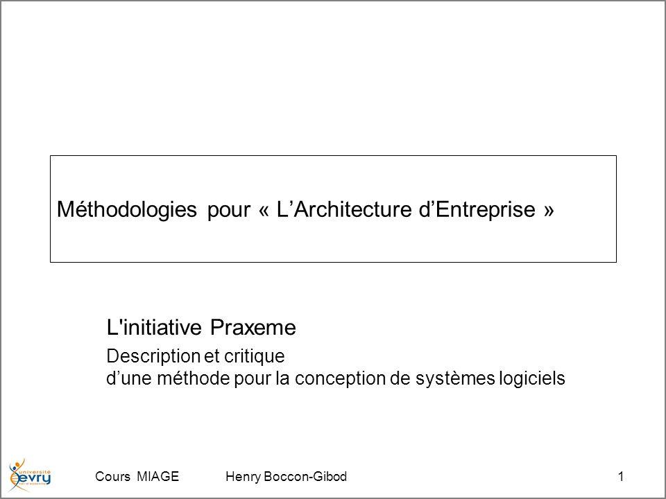 Cours MIAGE Henry Boccon-Gibod1 Méthodologies pour « LArchitecture dEntreprise » L initiative Praxeme Description et critique dune méthode pour la conception de systèmes logiciels