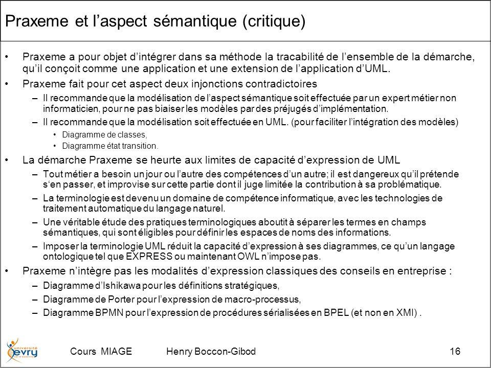 Cours MIAGE Henry Boccon-Gibod16 Praxeme et laspect sémantique (critique) Praxeme a pour objet dintégrer dans sa méthode la tracabilité de lensemble de la démarche, quil conçoit comme une application et une extension de lapplication dUML.