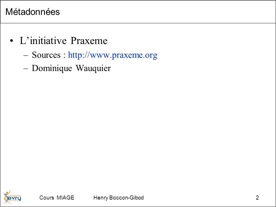 Cours MIAGE Henry Boccon-Gibod2 Métadonnées Linitiative Praxeme –Sources : http://www.praxeme.org –Dominique Wauquier