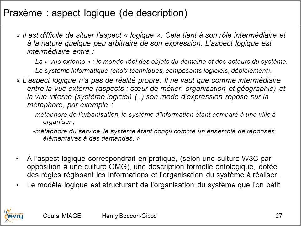 Cours MIAGE Henry Boccon-Gibod27 Praxème : aspect logique (de description) « Il est difficile de situer laspect « logique ».