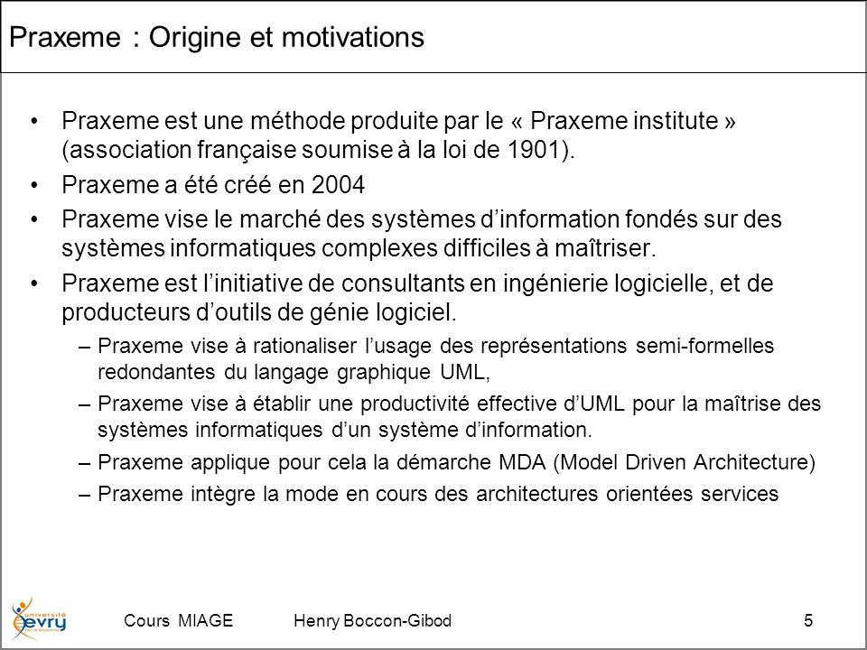 Cours MIAGE Henry Boccon-Gibod5 Praxeme : Origine et motivations Praxeme est une méthode produite par le « Praxeme institute » (association française soumise à la loi de 1901).