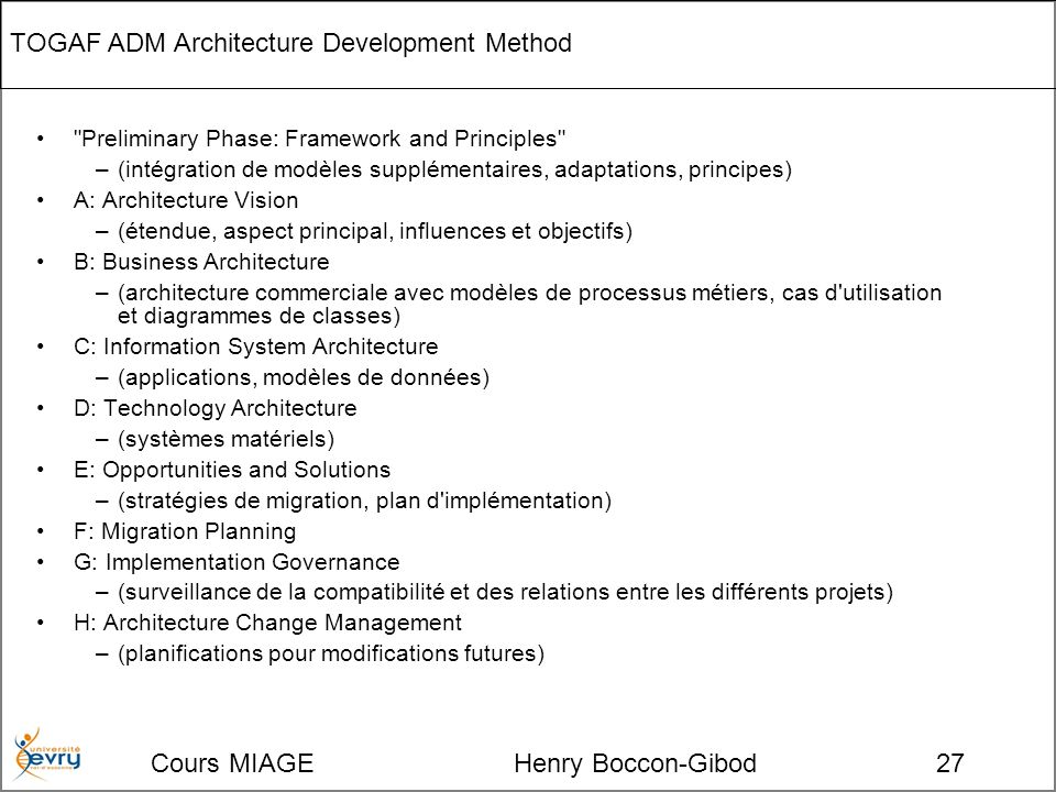 Cours MIAGE Henry Boccon-Gibod27 TOGAF ADM Architecture Development Method