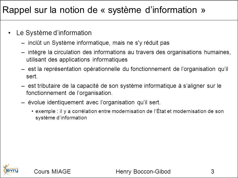 Cours MIAGE Henry Boccon-Gibod3 Rappel sur la notion de « système dinformation » Le Système dinformation – inclût un Système informatique, mais ne s y réduit pas – intègre la circulation des informations au travers des organisations humaines, utilisant des applications informatiques – est la représentation opérationnelle du fonctionnement de lorganisation quil sert.