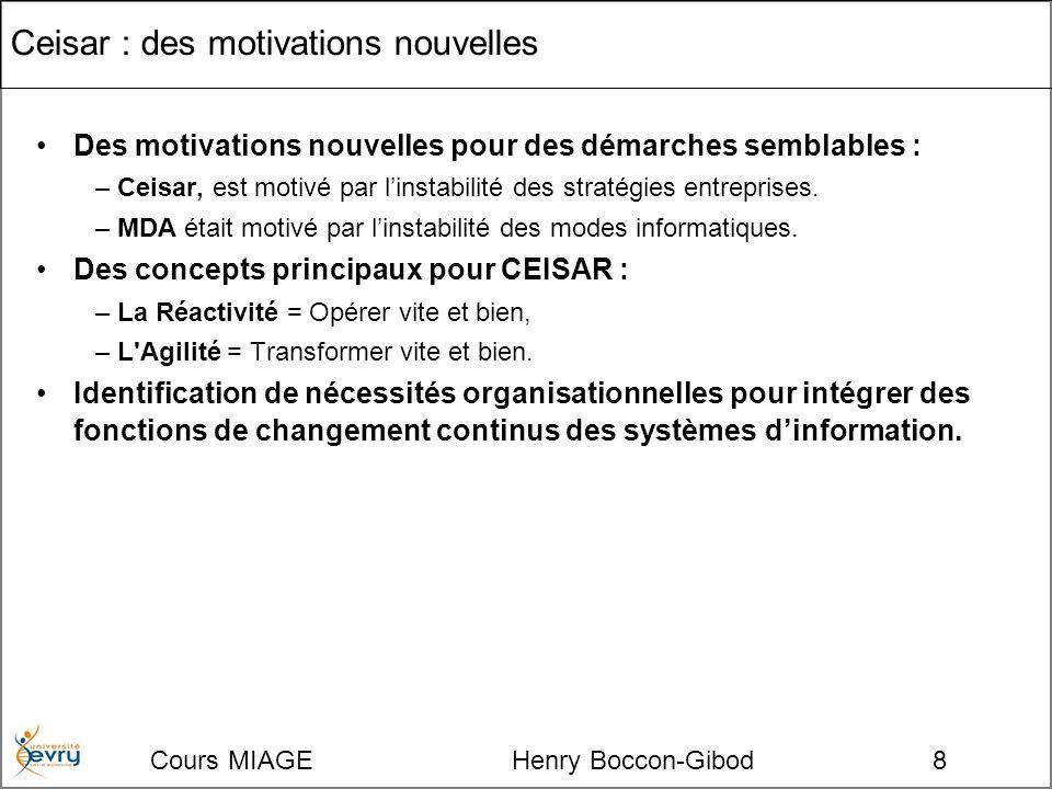 Cours MIAGE Henry Boccon-Gibod8 Ceisar : des motivations nouvelles Des motivations nouvelles pour des démarches semblables : –Ceisar, est motivé par linstabilité des stratégies entreprises.