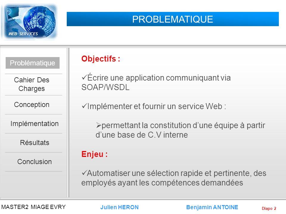 Diapo 2 Benjamin ANTOINE MASTER2 MIAGE EVRY Julien HERON PROBLEMATIQUE Objectifs : Écrire une application communiquant via SOAP/WSDL Implémenter et fo
