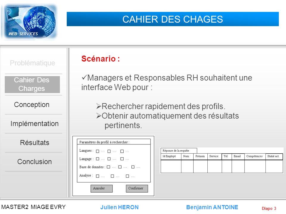 Diapo 3 Benjamin ANTOINE MASTER2 MIAGE EVRY Julien HERON CAHIER DES CHAGES Scénario : Managers et Responsables RH souhaitent une interface Web pour :