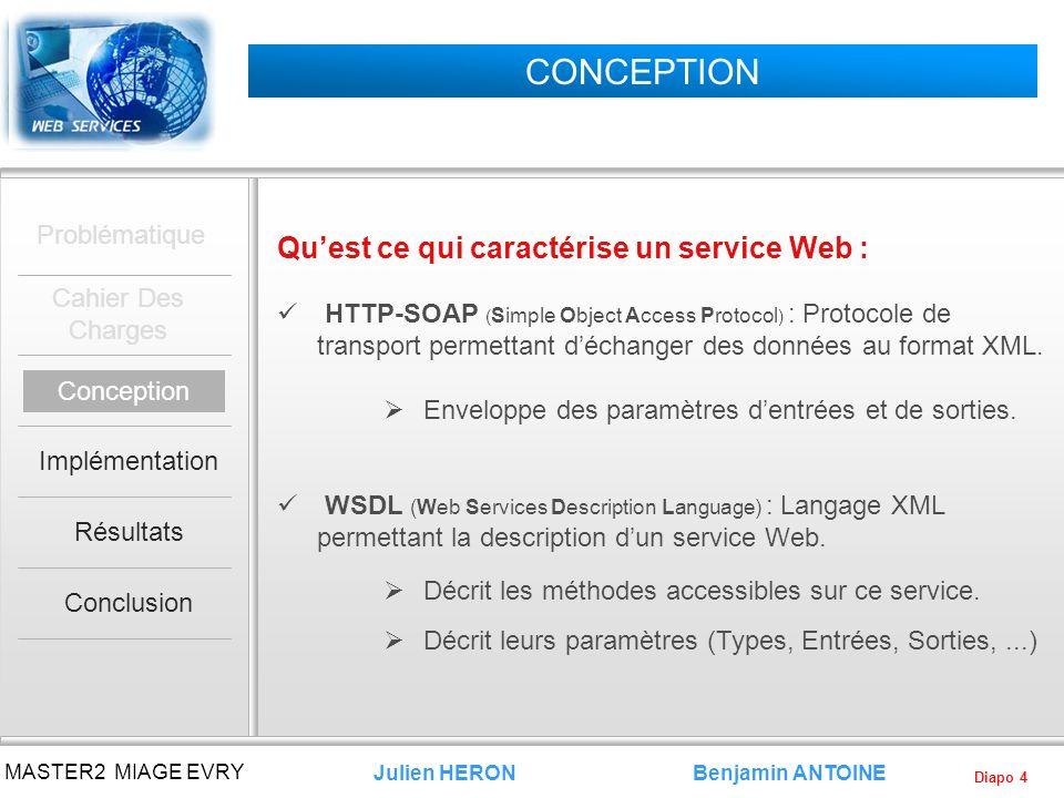 Diapo 4 Benjamin ANTOINE MASTER2 MIAGE EVRY Julien HERON CONCEPTION Quest ce qui caractérise un service Web : HTTP-SOAP ( Simple Object Access Protoco