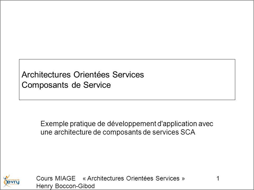 Cours MIAGE « Architectures Orientées Services » Henry Boccon-Gibod 1 Architectures Orientées Services Composants de Service Exemple pratique de développement d application avec une architecture de composants de services SCA