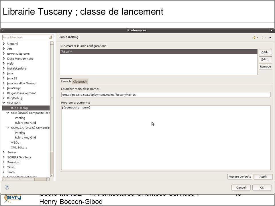 Cours MIAGE « Architectures Orientées Services » Henry Boccon-Gibod 10 Librairie Tuscany ; classe de lancement