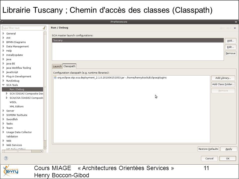 Cours MIAGE « Architectures Orientées Services » Henry Boccon-Gibod 11 Librairie Tuscany ; Chemin d accès des classes (Classpath)