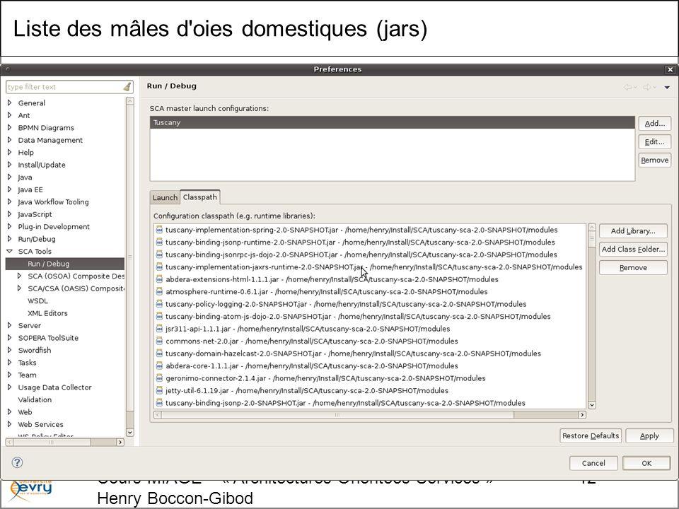 Cours MIAGE « Architectures Orientées Services » Henry Boccon-Gibod 12 Liste des mâles d oies domestiques (jars)