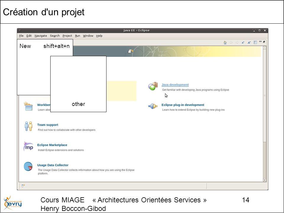 Cours MIAGE « Architectures Orientées Services » Henry Boccon-Gibod 14 Création d un projet New shift+alt+n other