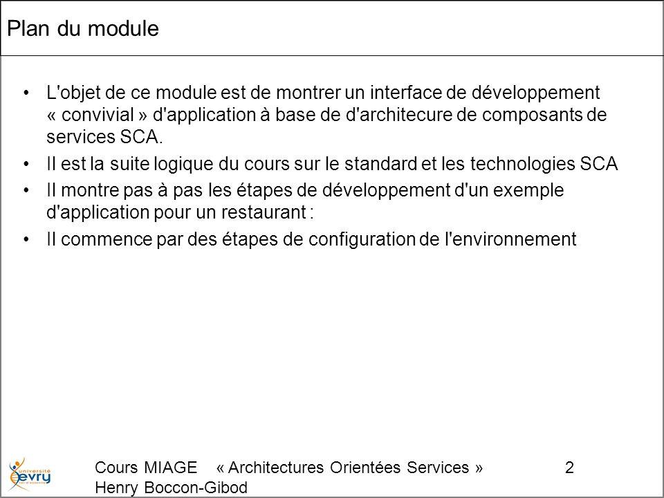 Cours MIAGE « Architectures Orientées Services » Henry Boccon-Gibod 2 Plan du module L objet de ce module est de montrer un interface de développement « convivial » d application à base de d architecure de composants de services SCA.