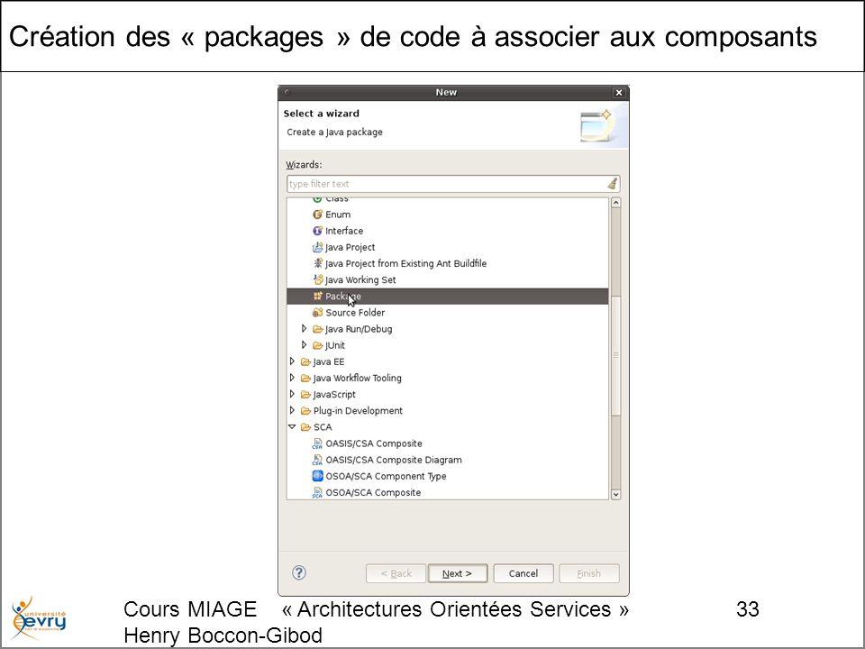Cours MIAGE « Architectures Orientées Services » Henry Boccon-Gibod 33 Création des « packages » de code à associer aux composants