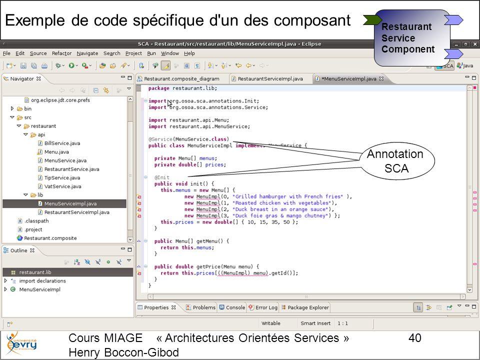 Cours MIAGE « Architectures Orientées Services » Henry Boccon-Gibod 40 Exemple de code spécifique d un des composant Annotation SCA Annotation SCA Restaurant Service Component