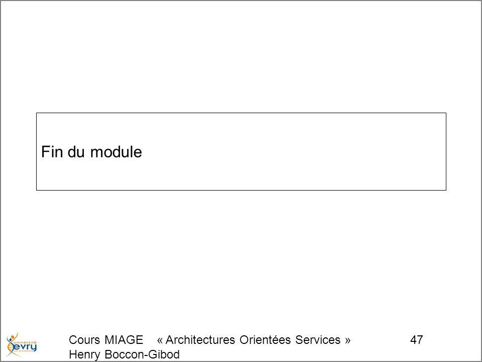 Cours MIAGE « Architectures Orientées Services » Henry Boccon-Gibod 47 Fin du module