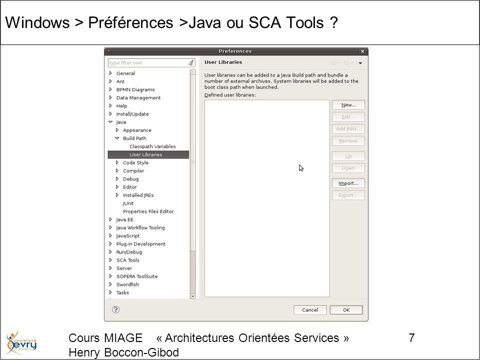 Cours MIAGE « Architectures Orientées Services » Henry Boccon-Gibod 7 Windows > Préférences >Java ou SCA Tools