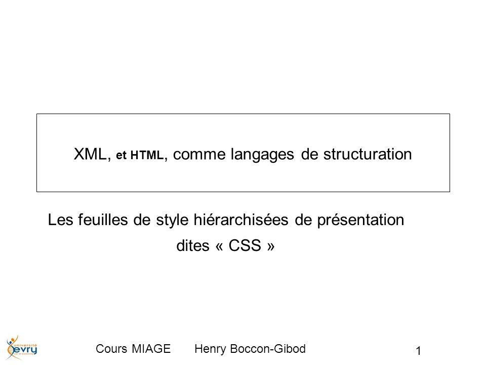 Cours MIAGE Henry Boccon-Gibod12 Les emboîtements Les CSS encadrent dans une boîte d encombrement graphique tous les éléments qu ils représentent, avec des marges externes, une bordure et une marge interne, et ce de tous côtés.