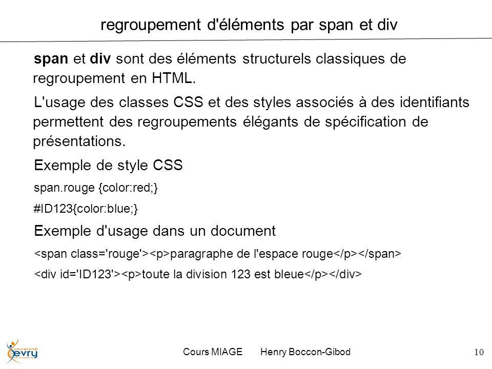 Cours MIAGE Henry Boccon-Gibod10 regroupement d'éléments par span et div span et div sont des éléments structurels classiques de regroupement en HTML.