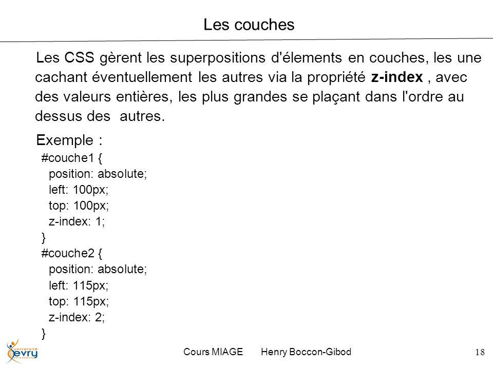 Cours MIAGE Henry Boccon-Gibod18 Les couches Les CSS gèrent les superpositions d'élements en couches, les une cachant éventuellement les autres via la
