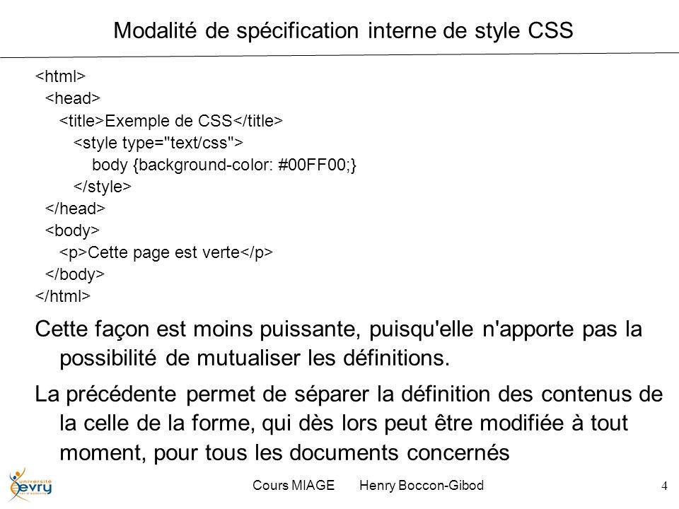 Cours MIAGE Henry Boccon-Gibod4 Modalité de spécification interne de style CSS Exemple de CSS body {background-color: #00FF00;} Cette page est verte C
