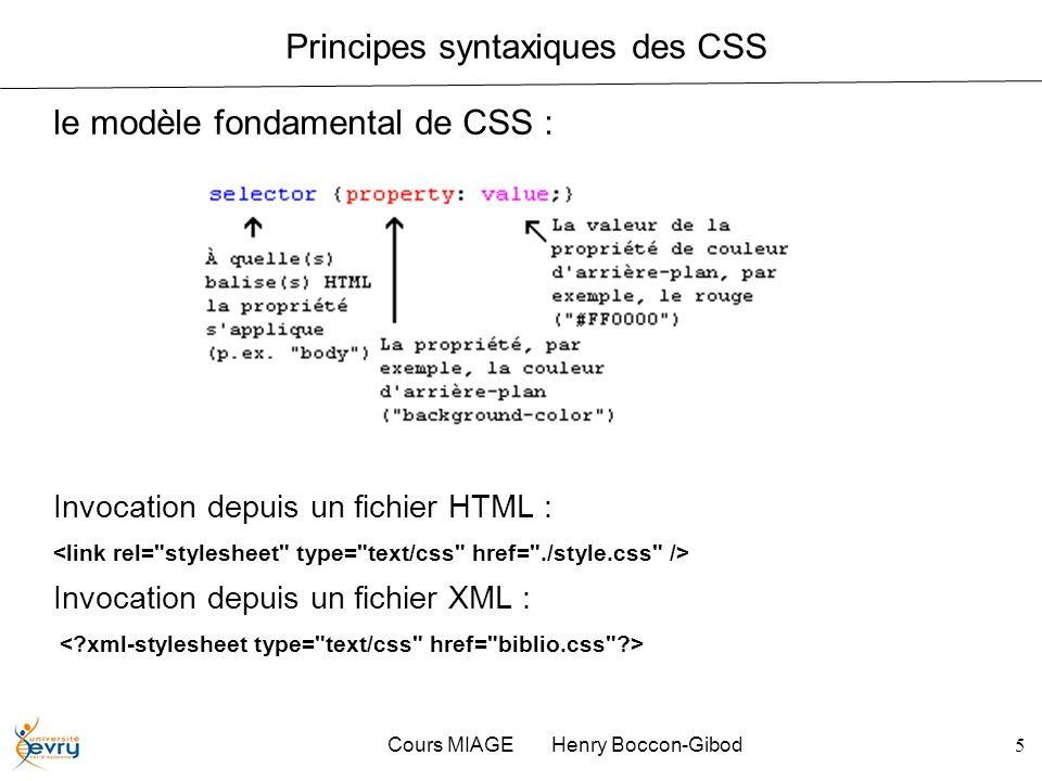 Cours MIAGE Henry Boccon-Gibod5 Principes syntaxiques des CSS le modèle fondamental de CSS : Invocation depuis un fichier HTML : Invocation depuis un