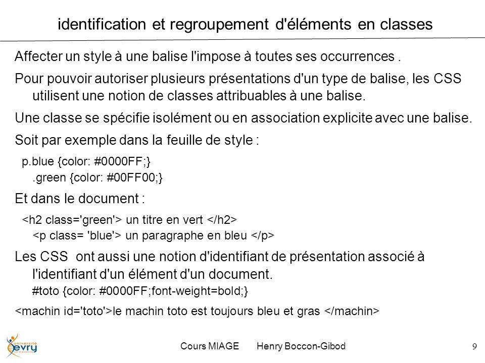 Cours MIAGE Henry Boccon-Gibod9 identification et regroupement d'éléments en classes Affecter un style à une balise l'impose à toutes ses occurrences.