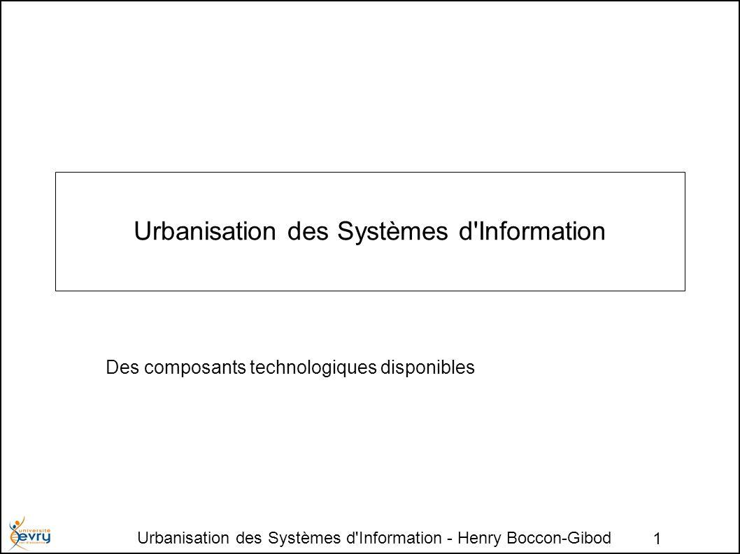 Urbanisation des Systèmes d Information - Henry Boccon-Gibod 1 Urbanisation des Systèmes d Information Des composants technologiques disponibles