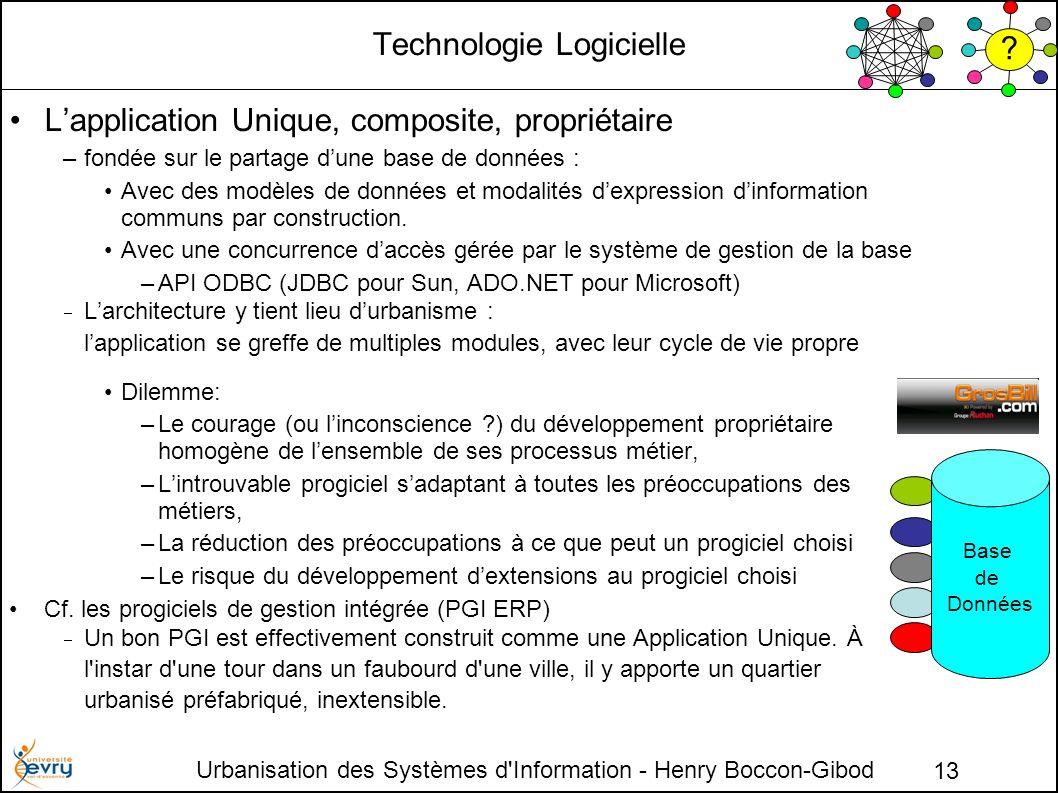 Urbanisation des Systèmes d Information - Henry Boccon-Gibod 13 Technologie Logicielle Lapplication Unique, composite, propriétaire –fondée sur le partage dune base de données : Avec des modèles de données et modalités dexpression dinformation communs par construction.