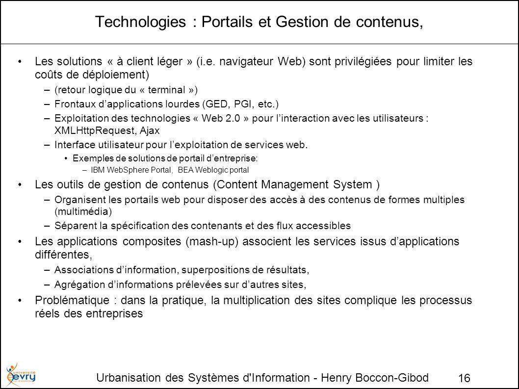 Urbanisation des Systèmes d Information - Henry Boccon-Gibod 16 Technologies : Portails et Gestion de contenus, Les solutions « à client léger » (i.e.