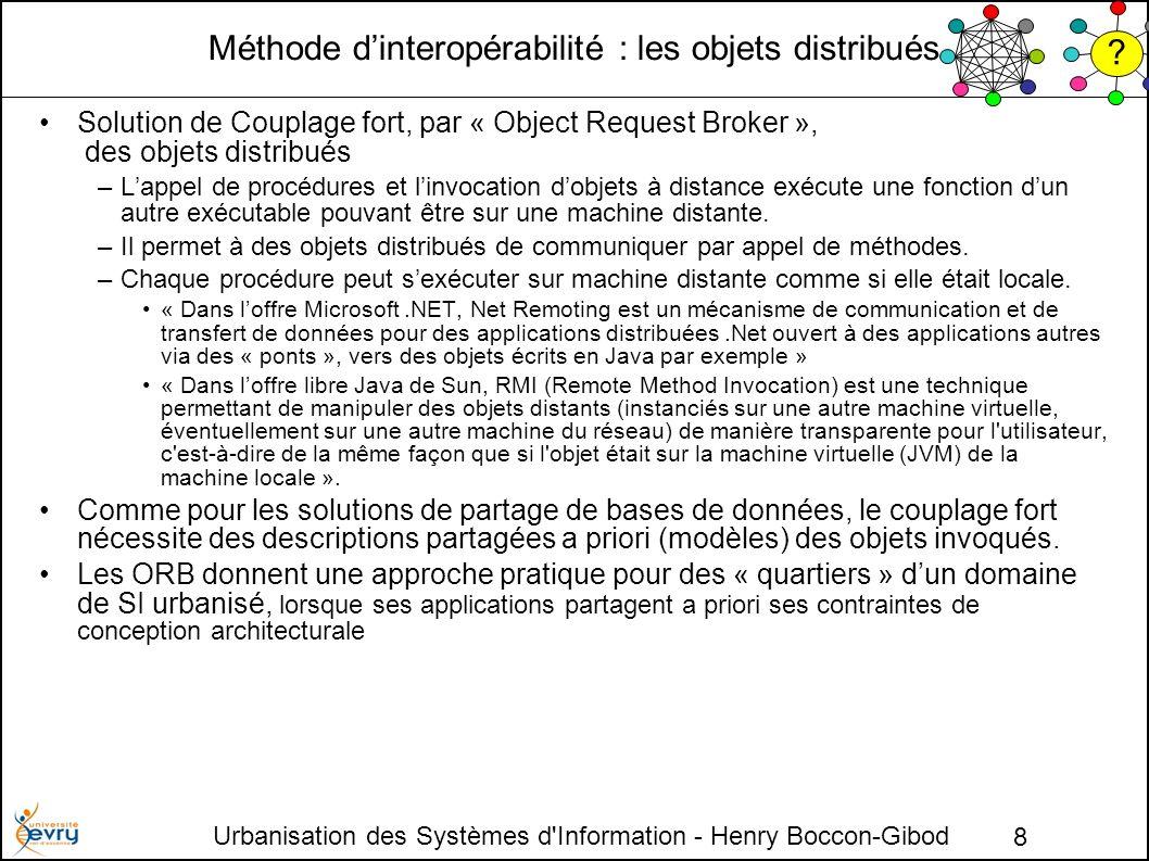 Urbanisation des Systèmes d Information - Henry Boccon-Gibod 8 Méthode dinteropérabilité : les objets distribués Solution de Couplage fort, par « Object Request Broker », des objets distribués –Lappel de procédures et linvocation dobjets à distance exécute une fonction dun autre exécutable pouvant être sur une machine distante.