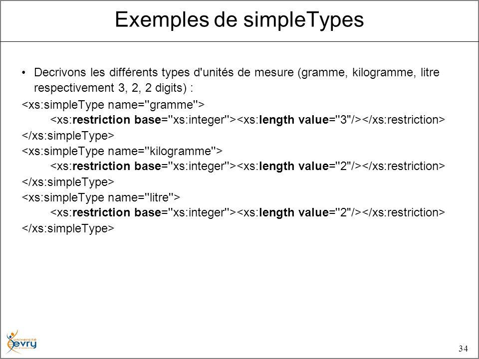34 Decrivons les différents types d unités de mesure (gramme, kilogramme, litre respectivement 3, 2, 2 digits) : Exemples de simpleTypes