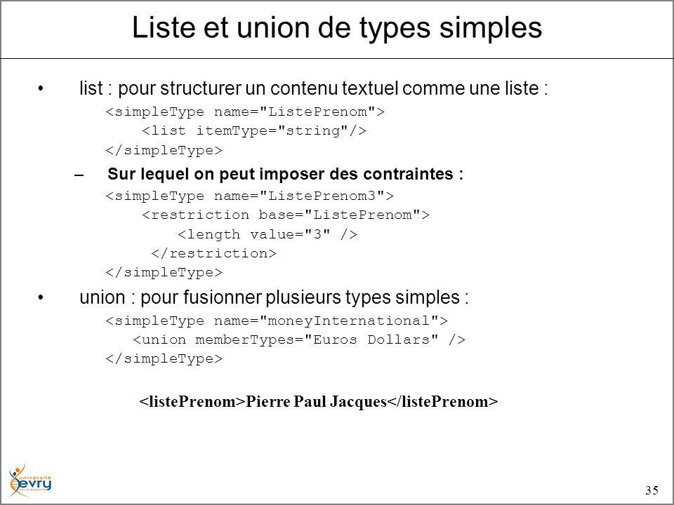 35 list : pour structurer un contenu textuel comme une liste : –Sur lequel on peut imposer des contraintes : union : pour fusionner plusieurs types simples : Pierre Paul Jacques Liste et union de types simples