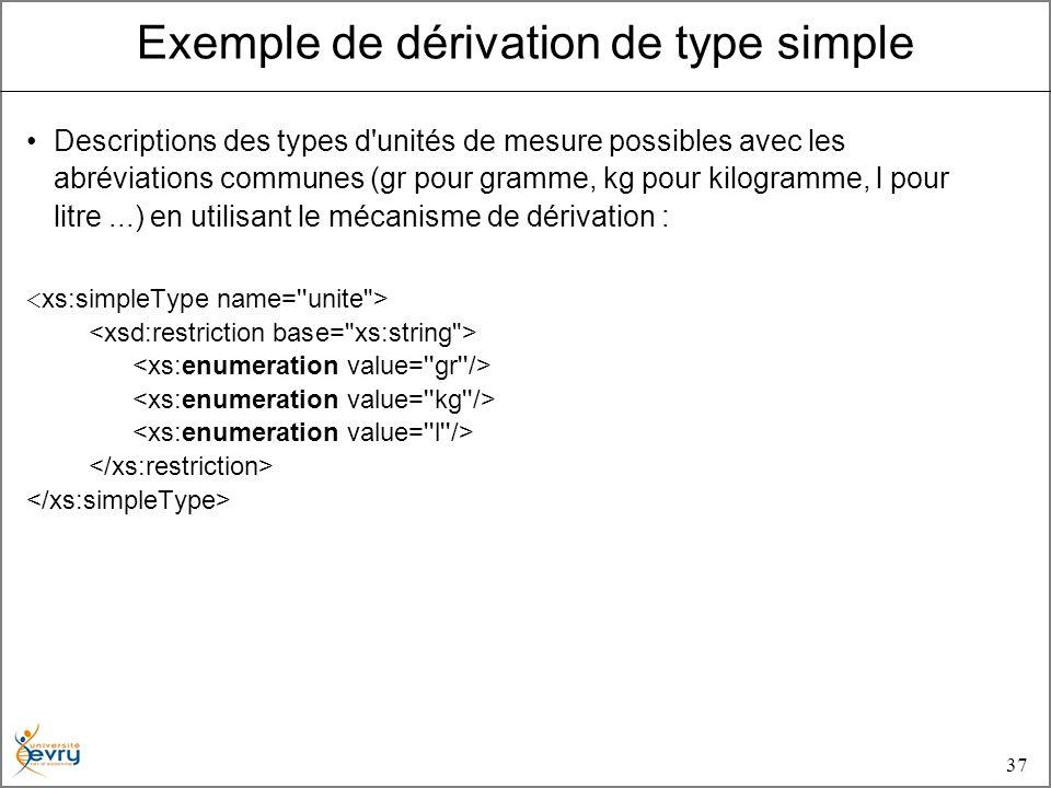 37 Descriptions des types d unités de mesure possibles avec les abréviations communes (gr pour gramme, kg pour kilogramme, l pour litre...) en utilisant le mécanisme de dérivation : Exemple de dérivation de type simple