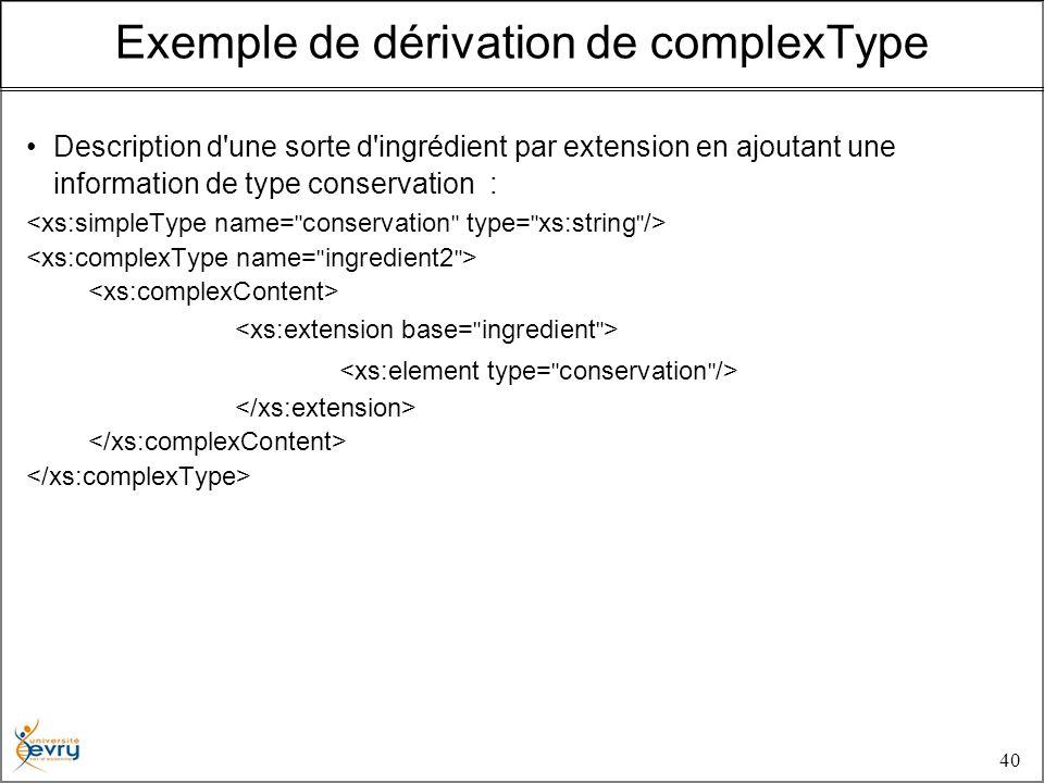 40 Description d une sorte d ingrédient par extension en ajoutant une information de type conservation : Exemple de dérivation de complexType