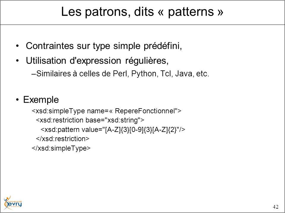 42 Contraintes sur type simple prédéfini, Utilisation d expression régulières, –Similaires à celles de Perl, Python, Tcl, Java, etc.