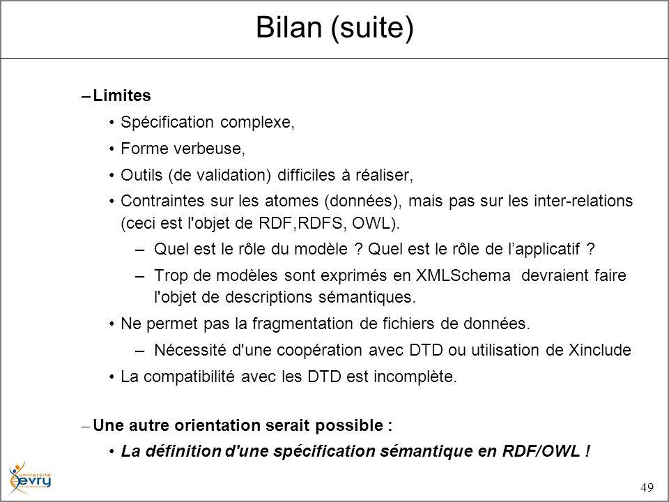 49 –Limites Spécification complexe, Forme verbeuse, Outils (de validation) difficiles à réaliser, Contraintes sur les atomes (données), mais pas sur les inter-relations (ceci est l objet de RDF,RDFS, OWL).