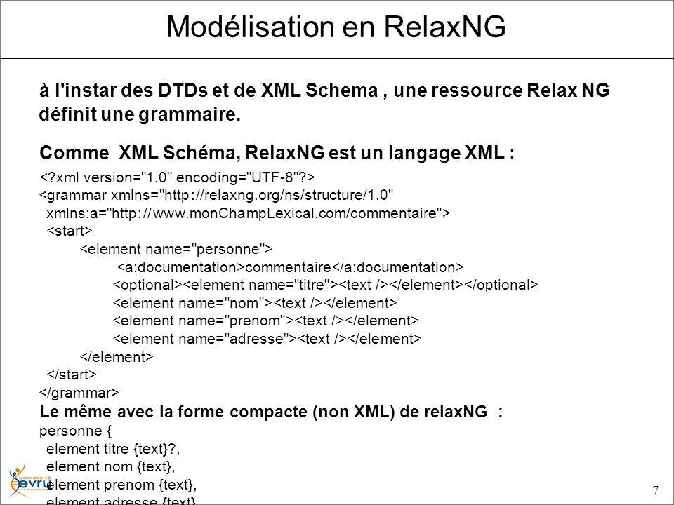 7 Modélisation en RelaxNG à l instar des DTDs et de XML Schema, une ressource Relax NG définit une grammaire.