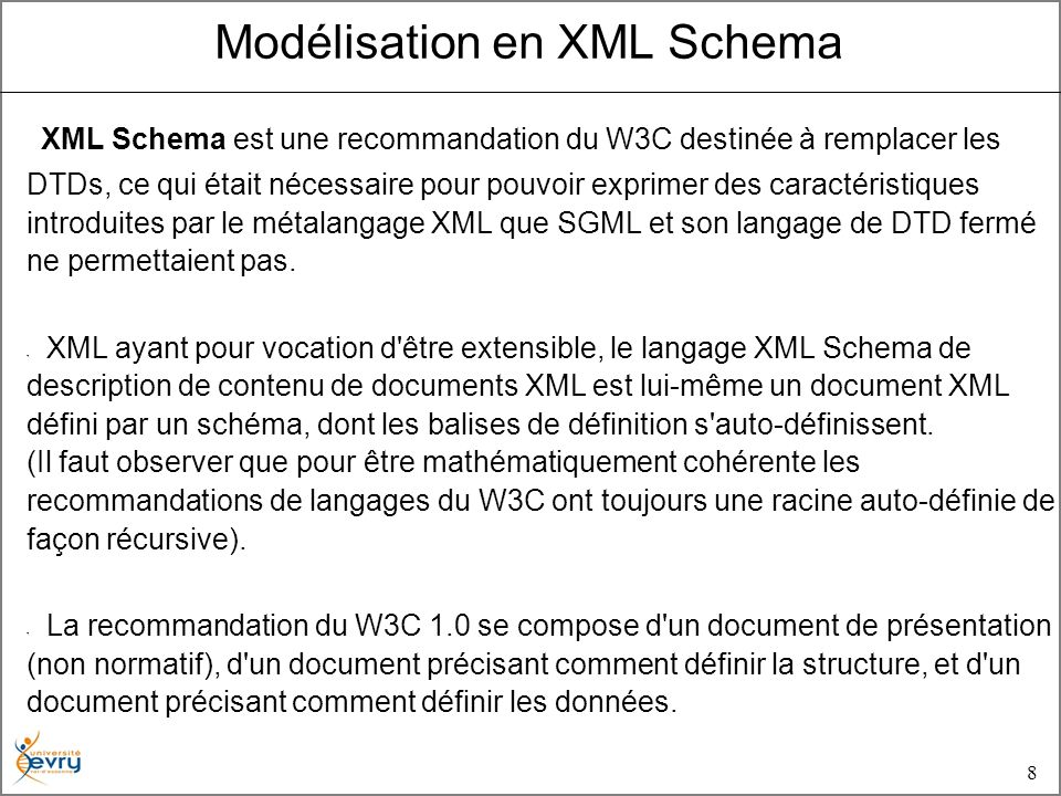 8 Modélisation en XML Schema XML Schema est une recommandation du W3C destinée à remplacer les DTDs, ce qui était nécessaire pour pouvoir exprimer des caractéristiques introduites par le métalangage XML que SGML et son langage de DTD fermé ne permettaient pas.