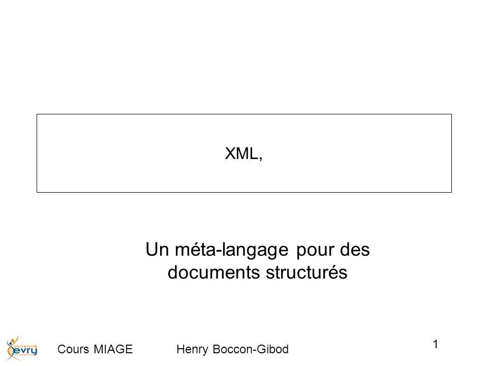Cours MIAGE Henry Boccon-Gibod 1 XML, Un méta-langage pour des documents structurés
