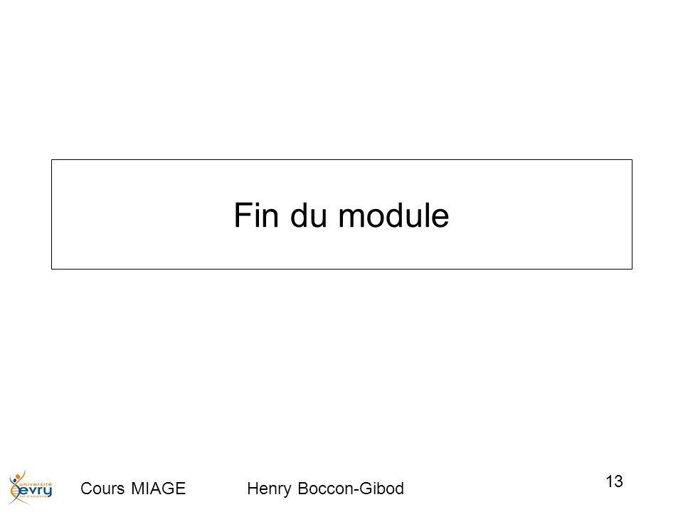 Cours MIAGE Henry Boccon-Gibod 13 Fin du module