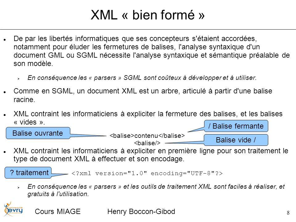 8 Cours MIAGE Henry Boccon-Gibod XML « bien formé » De par les libertés informatiques que ses concepteurs s étaient accordées, notamment pour éluder les fermetures de balises, l analyse syntaxique d un document GML ou SGML nécessite l analyse syntaxique et sémantique préalable de son modèle.