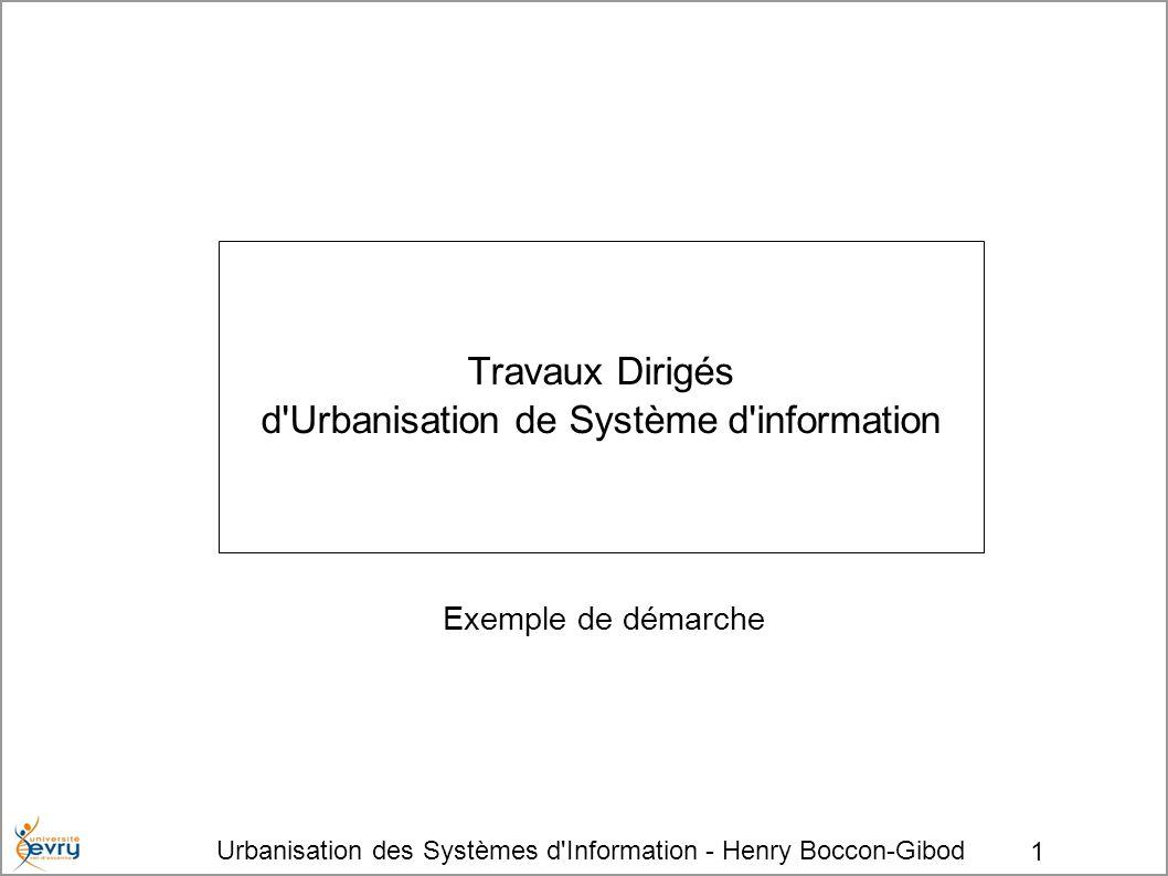 Urbanisation des Systèmes d'Information - Henry Boccon-Gibod 1 Travaux Dirigés d'Urbanisation de Système d'information Exemple de démarche