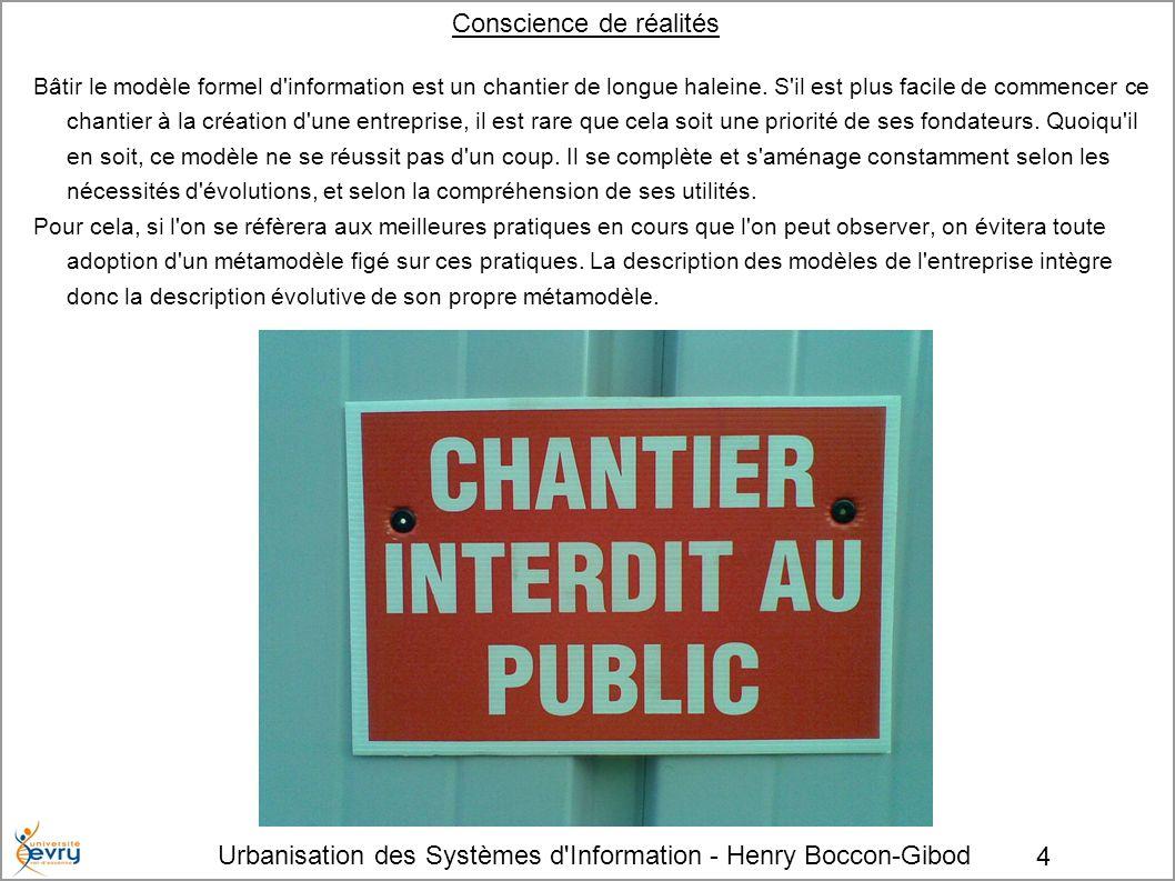 Urbanisation des Systèmes d'Information - Henry Boccon-Gibod 4 Conscience de réalités Bâtir le modèle formel d'information est un chantier de longue h
