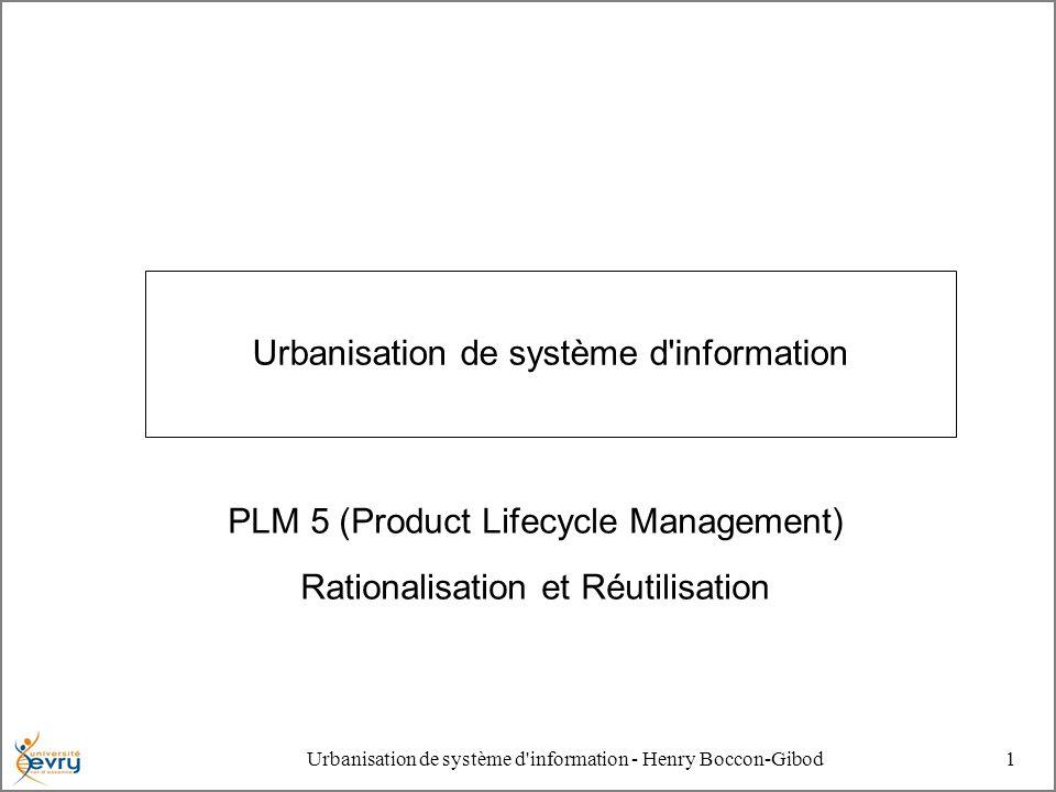 Urbanisation de système d'information - Henry Boccon-Gibod1 Urbanisation de système d'information PLM 5 (Product Lifecycle Management) Rationalisation