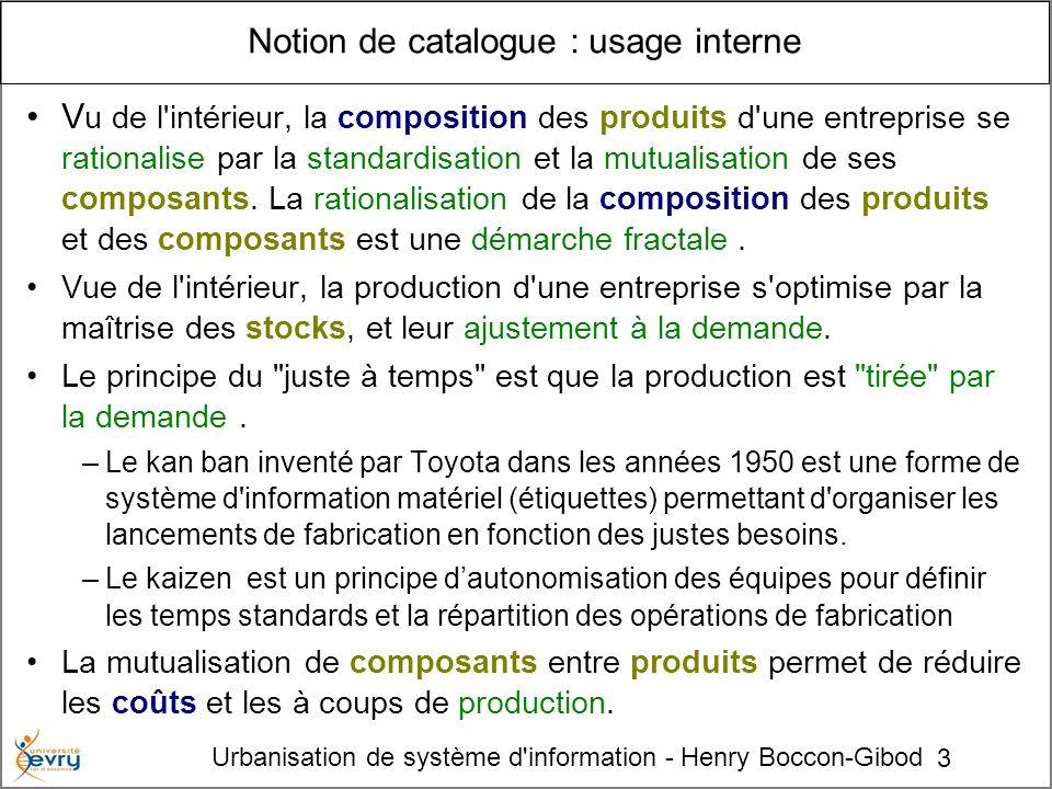 3 Urbanisation de système d'information - Henry Boccon-Gibod Notion de catalogue : usage interne V u de l'intérieur, la composition des produits d'une