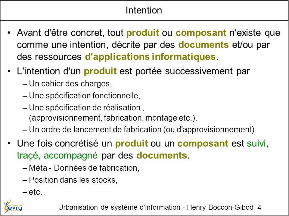 4 Urbanisation de système d'information - Henry Boccon-Gibod Intention Avant d'être concret, tout produit ou composant n'existe que comme une intentio