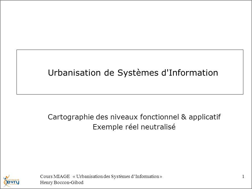 Cours MIAGE « Urbanisation des Systèmes dInformation » Henry Boccon-Gibod 1 Urbanisation de Systèmes d Information Cartographie des niveaux fonctionnel & applicatif Exemple réel neutralisé