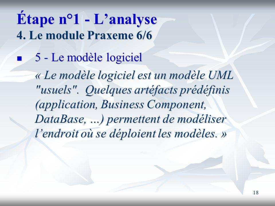 18 Étape n°1 - Lanalyse 4. Le module Praxeme 6/6 5 - Le modèle logiciel 5 - Le modèle logiciel « Le modèle logiciel est un modèle UML